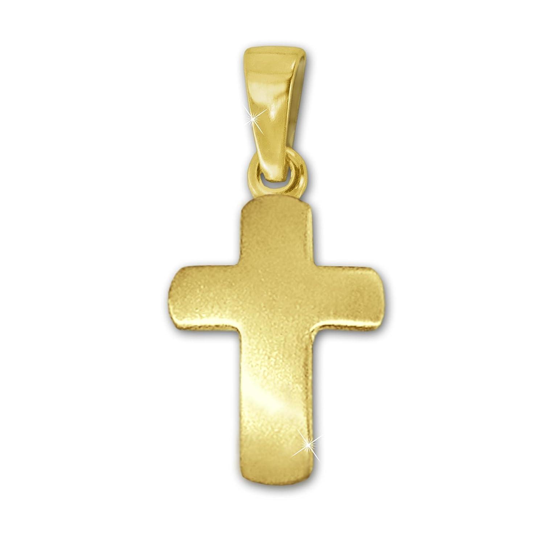 CLEVER SCHMUCK Goldener Mini Anhänger kleines schlichtes Kreuz 12 mm seidenmatt leicht gewölbt 333 GOLD 8 KARAT für Kinder ahg990
