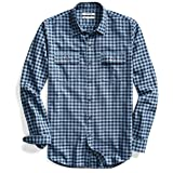 Goodthreads Men's Slim-Fit Long-Sleeve Gingham Twill Shirt, Navy Eclipse, Large