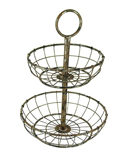 Amazon Com Things2die4 Distressed Metal Wire 2 Tier Round Serving