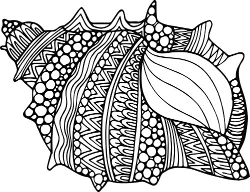 Black and White Tribal Pattern Conch Sea Shell Vinyl Decal Sticker (4