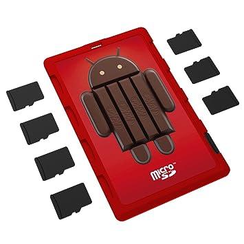 DiMeCard micro8 - Organizador de tarjetas de memoria microSD, diseño Android 4.4 KitKat (capacidad para 8 tarjetas, tamaño tarjeta de crédito)