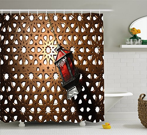 Lantern Shower Curtain by Ambesonne, Egyptian Fanoos in a 3D Illustration of Ramadan Mubarak West African Culture, Fabric Bathroom Decor Set with Hooks, 105 Inches Extra Wide, Bronze Red Grey (105 Old Bronze Tub)