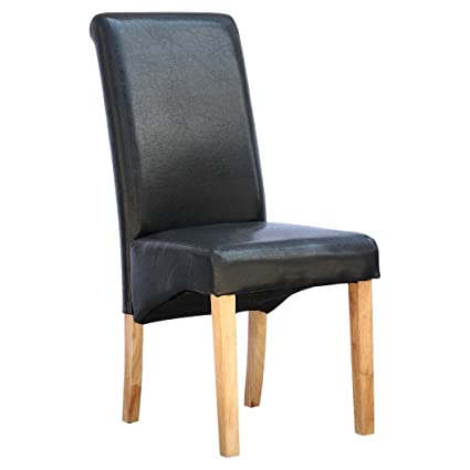 Superb Cambridge Black Faux Leather Dining Chair W Roll Top High Back Solid Wood Oak Legs Andrewgaddart Wooden Chair Designs For Living Room Andrewgaddartcom
