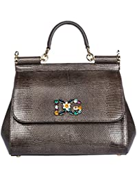 Dolce&Gabbana women's leather handbag shopping bag purse sicily grey