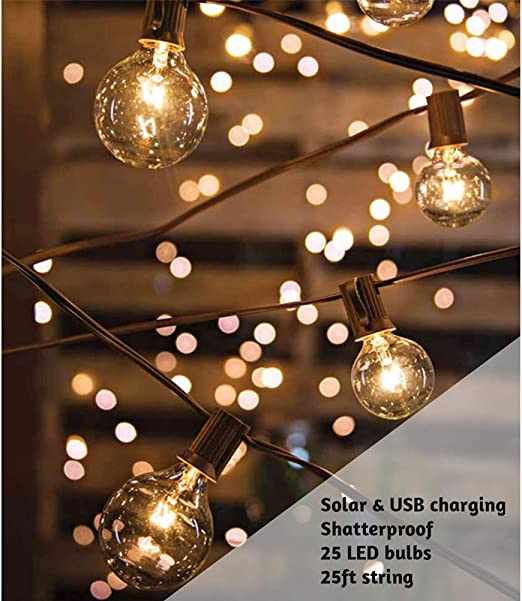 ExcMark - Guirnalda de luces LED solares de 25 pies con 25 bombillas transparentes inastillables, resistentes al