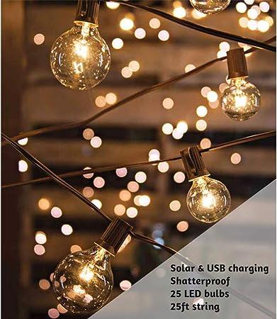 ExcMark - Guirnalda de luces LED solares de 25 pies con 25 bombillas transparentes inastillables, resistentes al agua, para exteriores, para patio, jardín, patio, pérgola, patio, tiendas de campaña, cafetería, cenador, porche,