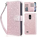 Cheap UARMOR Wallet Case for LG Stylo 3 / Stylo 3 Plus / LS777 2017 Release,Glitter Bling Sparkle Shiny PU Leather with Magnetic Closure Credit Card Slot Cash Holder Protective Wallet Case, Rose Gold