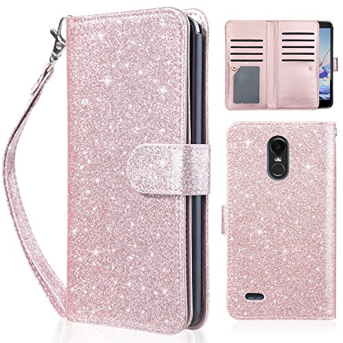 UARMOR Wallet Case for LG Stylo 3 / Stylo 3 Plus / LS777 2017 Release,Glitter Bling Sparkle Shiny PU Leather with Magnetic Closure Credit Card Slot Cash Holder Protective Wallet Case, Rose Gold