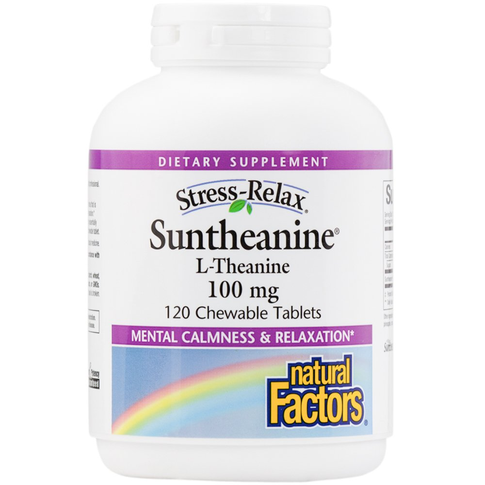 Natural Factors - Stress-Relax Suntheanine L-Theanine, 100mg, 120 Chewable Tablets