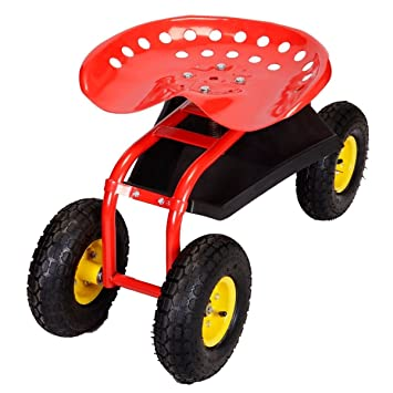 Super Buy Rolling Garden Cart Work Seat With Heavy Duty Tool Tray Gardening  Planting (Red
