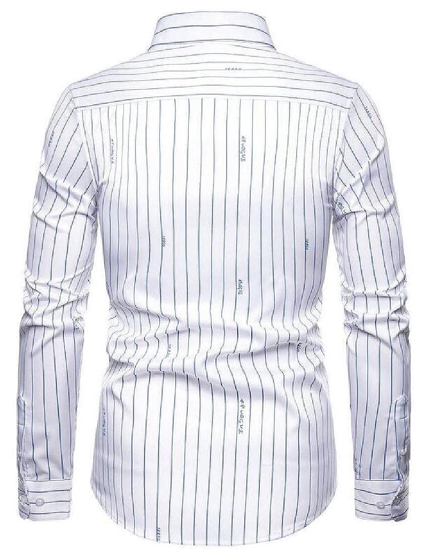 UUYUK Men Slim Stretch Casual Shirt Stripe Long Sleeve Button Up Shirt
