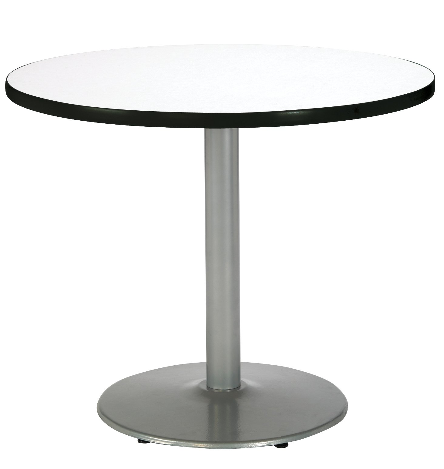 KFI Seating Round Pedestal Table with Round Silver Base, Commercial Grade, 36-Inch, Crisp Linen Laminate, Made in the USA