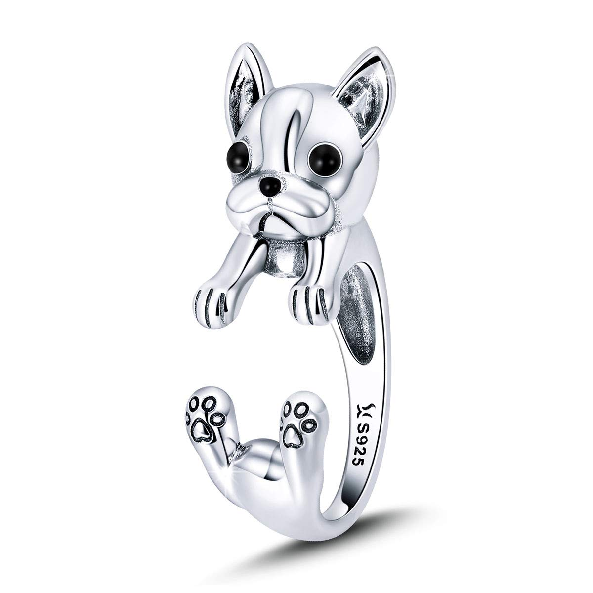 FOREVER QUEEN 925 Sterling Silver French Bulldog Open Ring, Adjustable Finger Rings Animal Jewelry Dog Lover Gifts