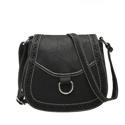 616cbdf38805 BIBITIME Campus Preppy Shoulder Messenger Bag Hollow Clover Cross body Bag  Travel Bag for Holiday Back