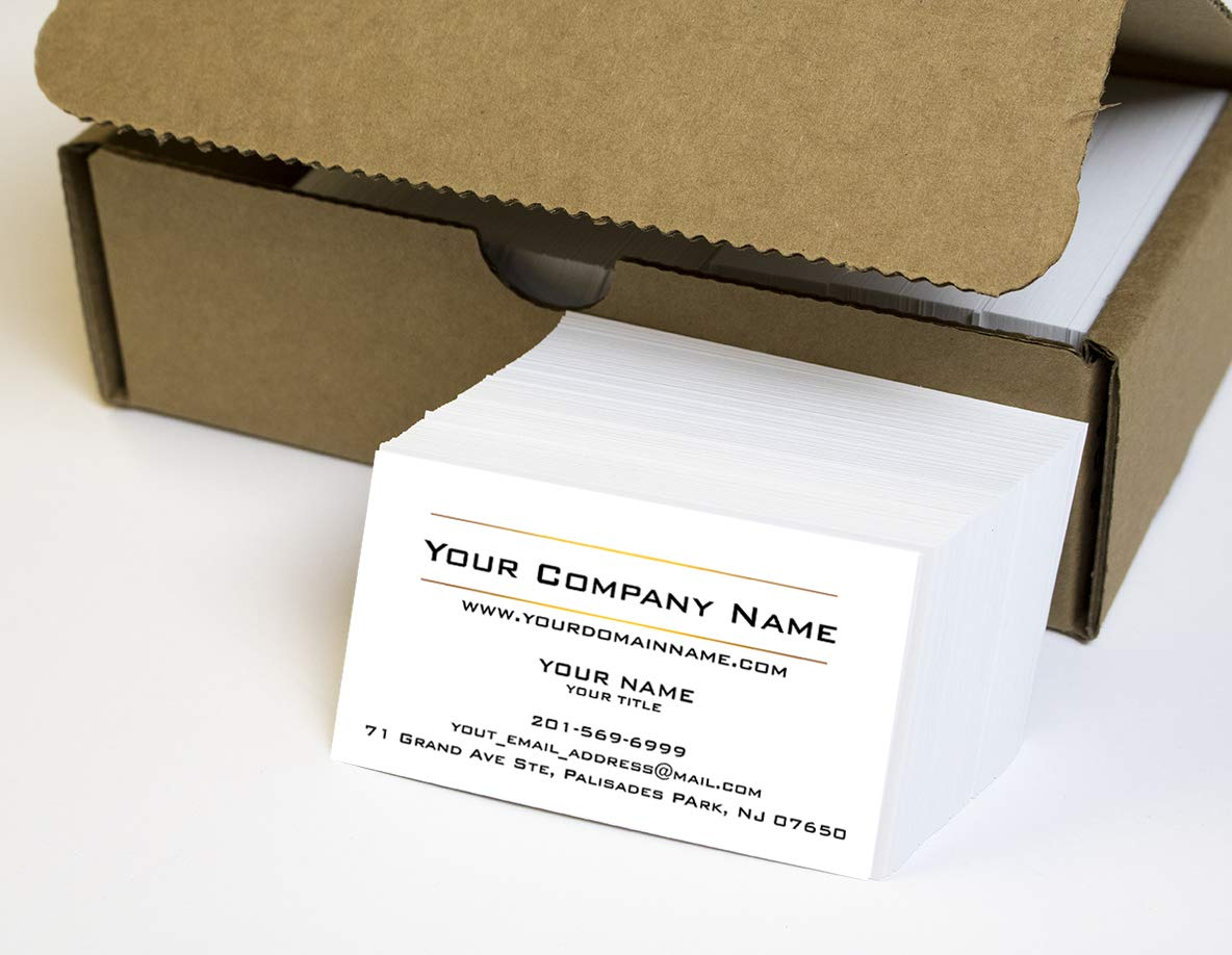 Simple Custom Premium Business Cards 500 Full color - Two Sunny lines design- White front-White back (129 lbs. 350gsm-Thick paper),Offset Printing, Made in The USA