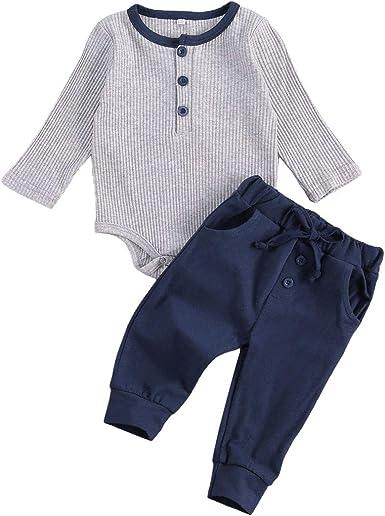 Ropa de bebé recién Nacido Mono de algodón de Manga Larga Mono Pantalones con cordón Pijama pantalón Conjunto Superior 2 uds