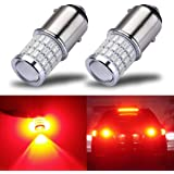 iBrightstar Newest 9-30V Super Bright Low Power 1157 2057 2357 7528 BAY15D LED Bulbs with Projector for Tail Brake…