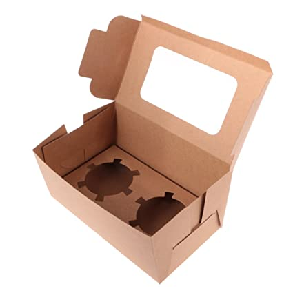 Dovewill 20x Kraft Cupcake Holders Boxes Muffin Carrier Home-made Gift Bakery Box with Window