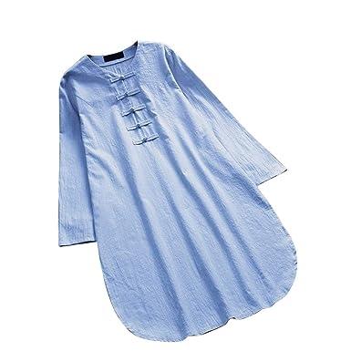 5d7e3a564 Nevera Women Shirts Plus Size Loose Linen Short Sleeve Shirt Vintage Tunic  Tops (S,