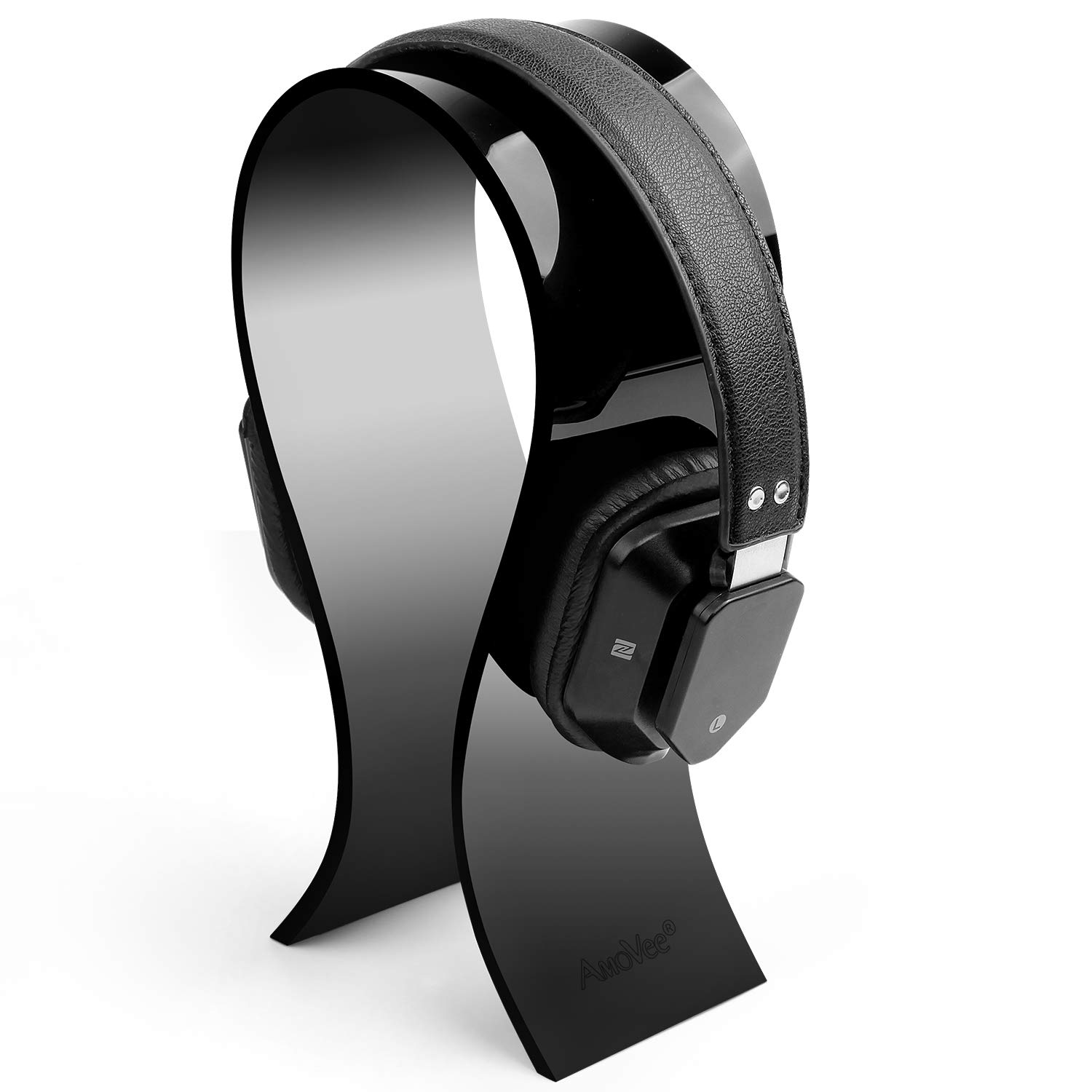 [Updated] AmoVee Acrylic Headphone Stand Gaming Headset Holder/Hanger, Extra Wide - Black