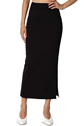 1c9c793ab TheMogan Women's Side Slit Ponte Knit High Waist Mid-Calf Pencil Skirt  Black S