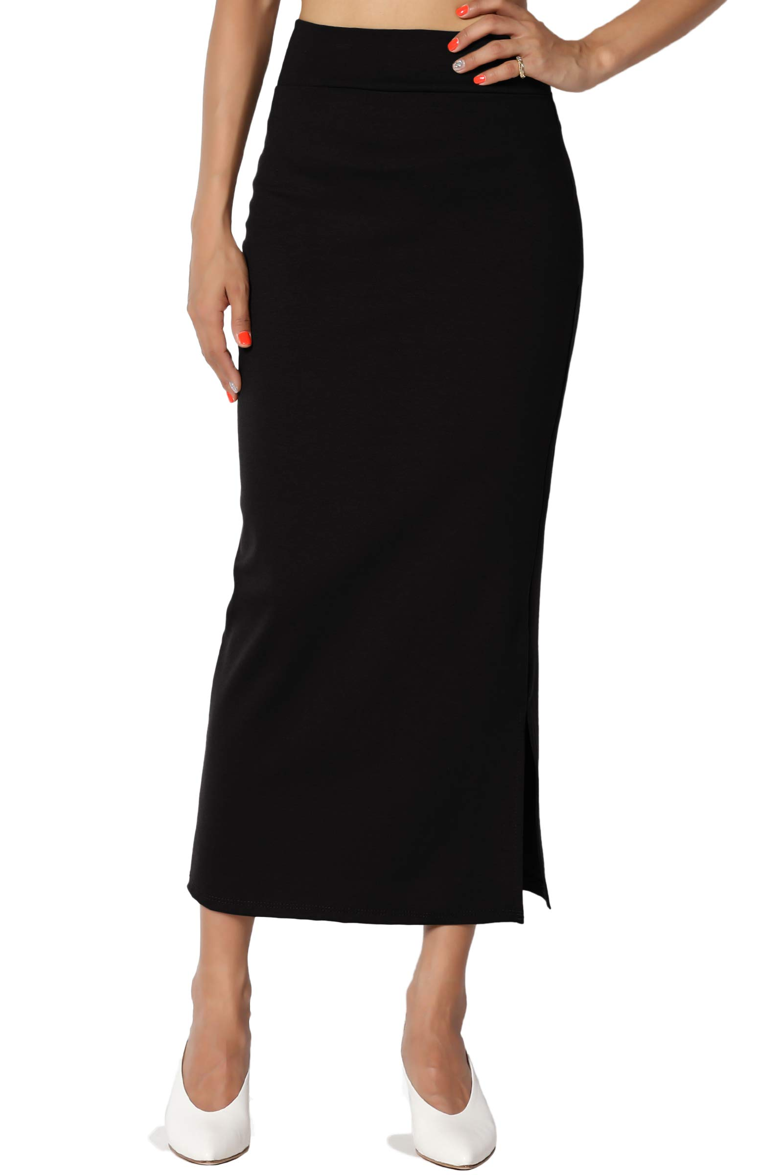 TheMogan Women's Side Slit Ponte Knit High Waist Mid-Calf Pencil Skirt Black L