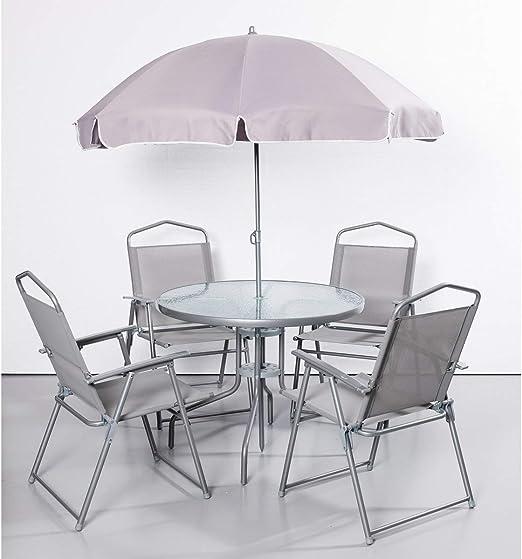 Grupo de mesa desconocido, 6 piezas, muebles de terraza, muebles de jardín, grupo de jardín, grupo de asientos, sombrilla, silla plegable, camping, mesa de cristal, mesa de jardín, silla de jardín: Amazon.es: