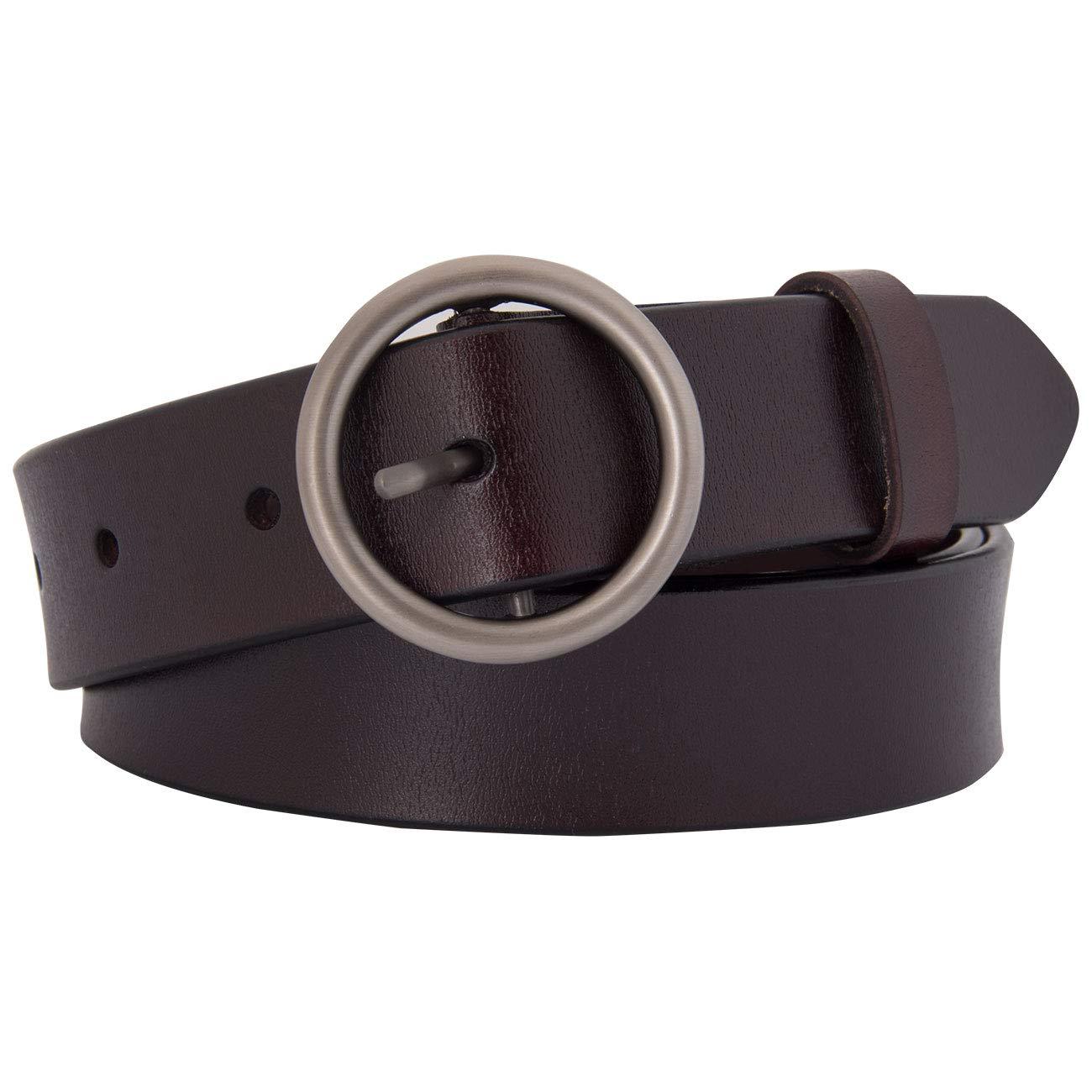Maylisacc Ring-G/ürtel Modischer Damen-G/ürtel aus Rindsleder mit exquisiter Alu-Schnalle f/ür Jeans-Anzughose