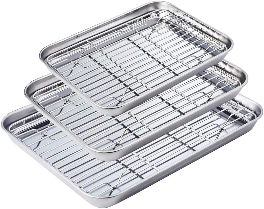 WEZVIX Stainless Steel Baking Sheet with Cooling Rack Set of 3 Toaster Oven Pan and Rack set (9 & 10 & 12 inches, Non Toxic & healthy, Rust Free & Less Stick, Easy Clean & Dishwasher Safe)