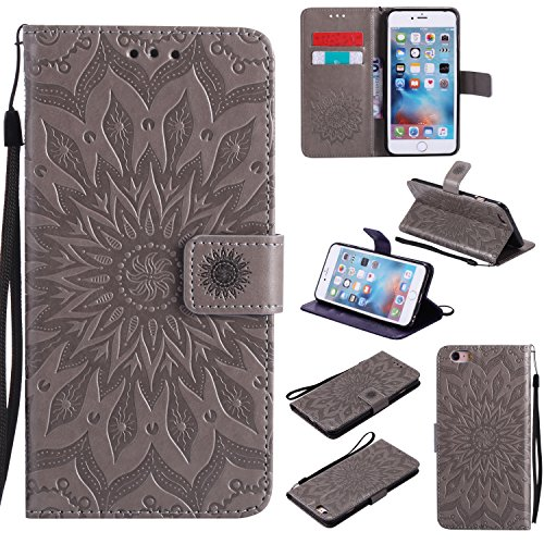 Price comparison product image iPhone 6S Plus Wallet Case, A-slim(TM) Sun Pattern Embossed PU Leather Magnetic Flip Cover Card Holders & Hand Strap Wallet Purse Case for iPhone 6 Plus / 6S Plus [5.5 Inch] - Gray