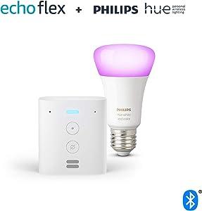 Echo Flex + Bombilla inteligente LED Philips Hue White & Color, compatible con Bluetooth y Zigbee, no se requiere controlador