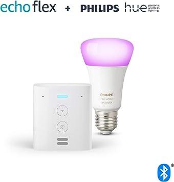 Echo Flex + Bombilla inteligente LED Philips Hue White & Color, compatible con Bluetooth y Zigbee...