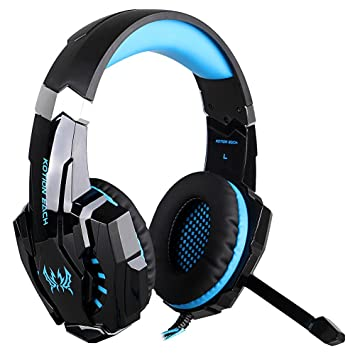 3e491ba90b6 Amazon.com: KOTION EACH G9000 3.5mm Gaming Headphone Game Headset Noise  Cancellation Earphone with Mic LED Light Black-red for PS4 Laptop Tablet  Mobile ...