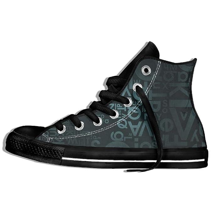 dc61da92e1a38 Amazon.com: Unisex Hi-Top Sneakers Shoes Dark Letters Lace Up ...