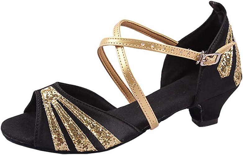 Baijiaye Femmes Chaussures de Danse Latine Ballroom Tango Salle de Bal Chaussures de Danse Salsa Sandale Talon Moyen 5CM
