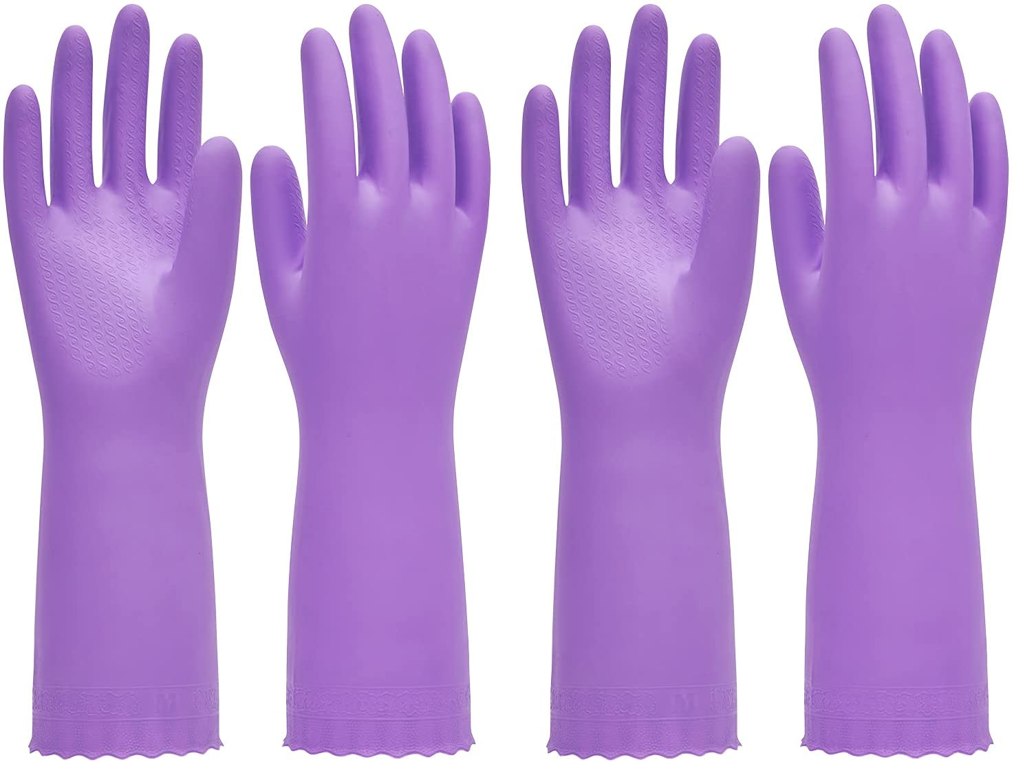 PACIFIC PPE 2 Pairs Reusable Dishwashing Cleaning Gloves, Household, Kitchen, Cotton Liner, Purple, Large