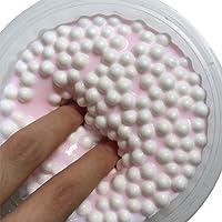 LQZ(TM) Slime Fluffy Floam Argile Boue de Neige Visqueux Soulagement du Stress Boue de jouet Jouets de Décompression Biscuit Doux Coloré aux Oeufs Enfant Adulte (1# Blanc)
