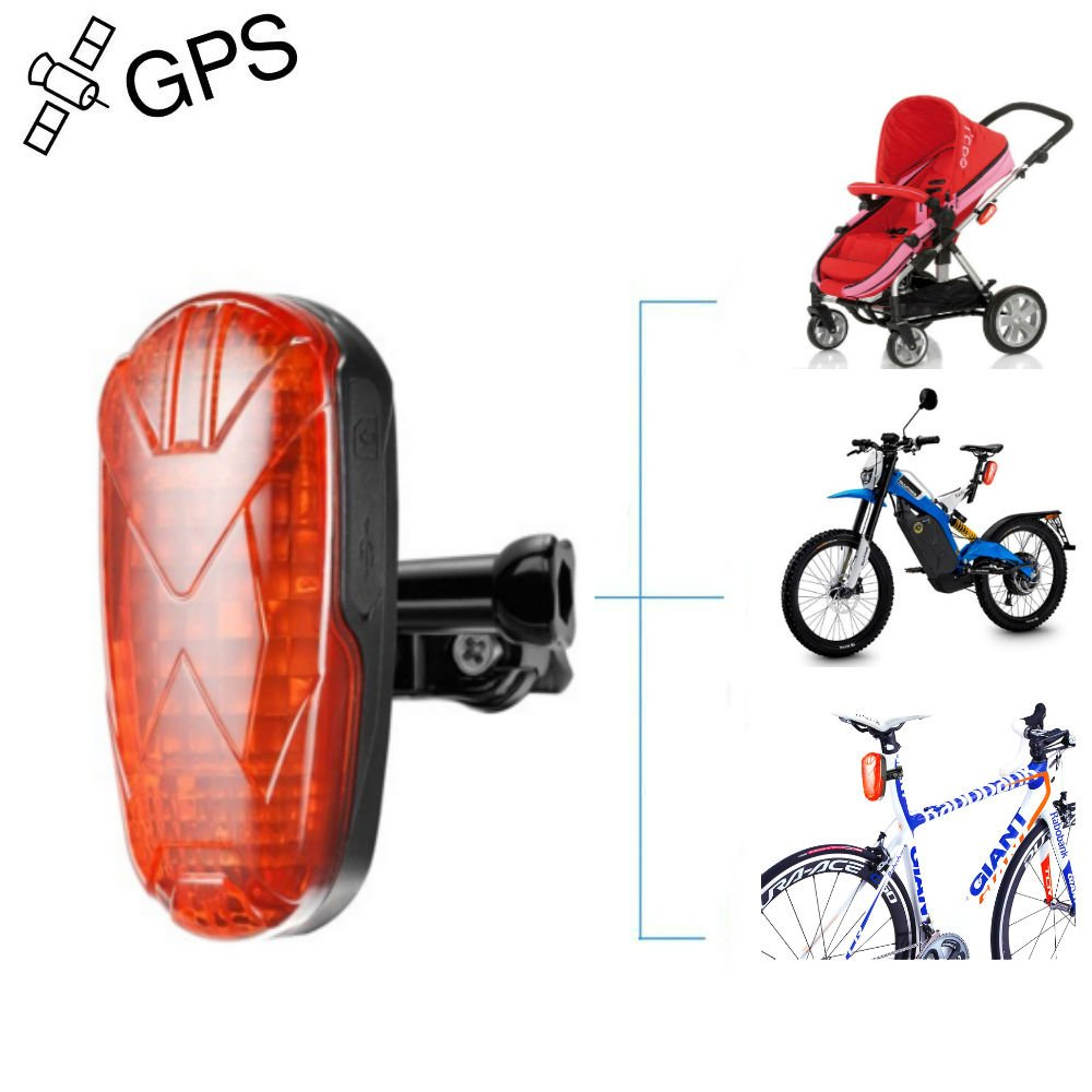 Bicycle GPS Tracker, Hidden GPS Tracking Devices for Motorcycle with LED Tail Light Online Moving Tracking Long Battery Life Realtime Bike Tracker SOS Button TK906 JUNEO