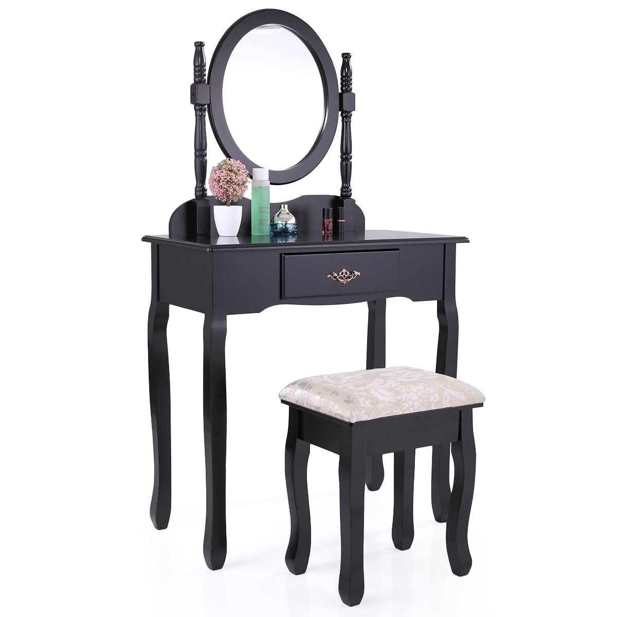 LAZYMOON Vanity MDF Makeup Table Set Dressing Jewelry Desk w/1 Drawer and Oval Mirror, Black