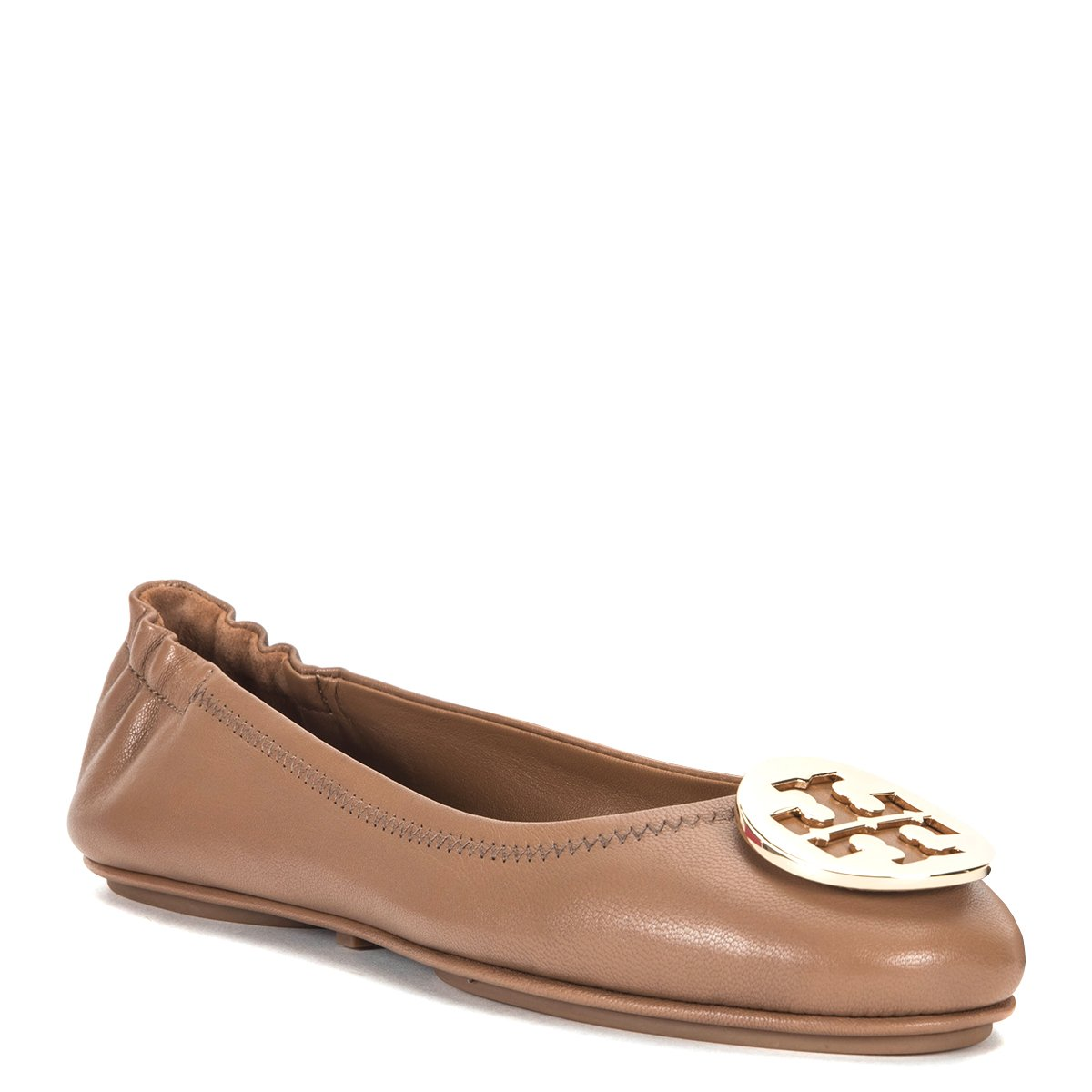 Tory Burch Women's Minnie Travel Ballet w/Metal Logo 32880-232, Royal Tan/Gold, 5 B(M) by Tory Burch
