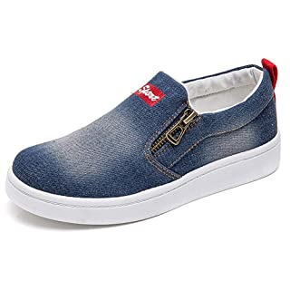 XIANV Women Denim Jeans Sneaker Classic Low Top Canvas Casual Shoes Slip-on Loafers (8 M US, Dark Blue)