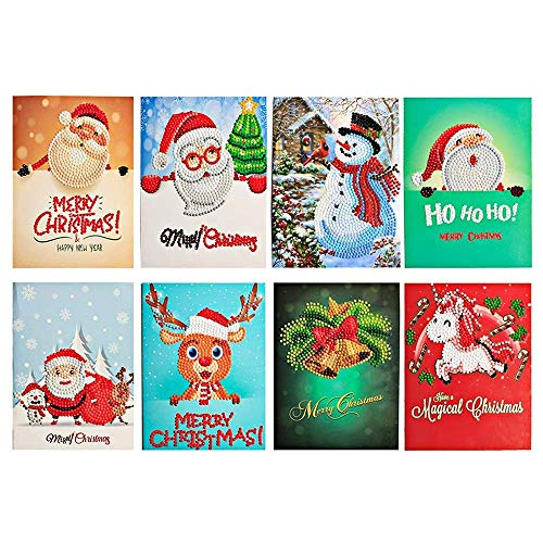 Christmas Card Diamond Painting Christmas Tree Santa Claus Full Drill New Year Greeting Card Christmas Stickers Embroidery Cross Stitch Home Decor(8 -