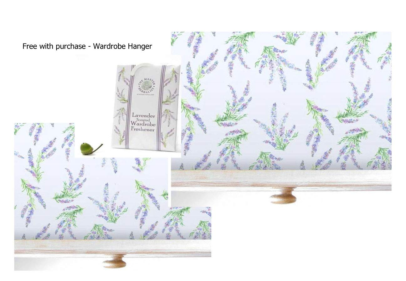 Lavender Scented Drawer Liners 2 Pack with Free Wardrobe by The Master Herbalist Lavender Liner