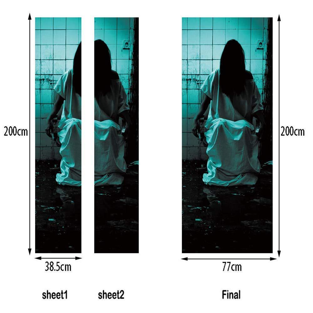 Stickers De Porte Trompe Loeil 3D Photo YJZ Halloween Femme Fant/ôme Auto Adh/ésif Amovible Imperm/éable PVC Autocollants De Porte Muraux Reconditionn/é Art Decor Affiche