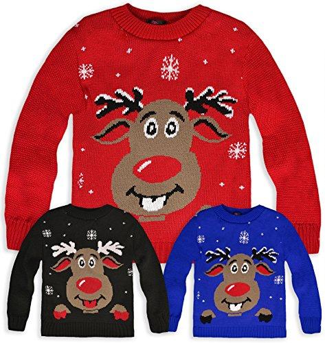 kids christmas jumper boys girls knitted rudolph reindeer. Black Bedroom Furniture Sets. Home Design Ideas