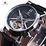 FORSINING Calendar Dial Genuine Leather Strap Automatic Skeleton Men Luxury Tourbillon Mechanical Watches