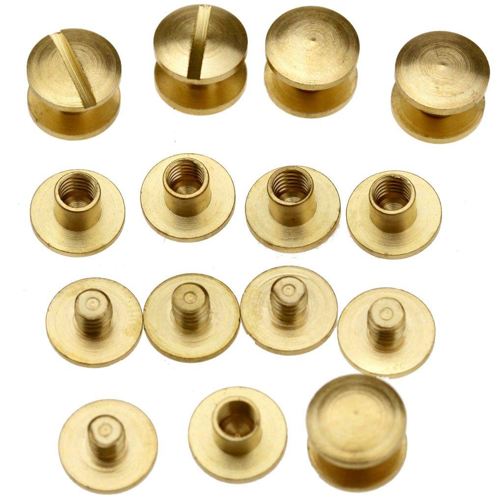 10pcs 4 x 4.5mm Flat Belt Screw Leather Craft Brass Solid Rivets Stud Head SING F LTD