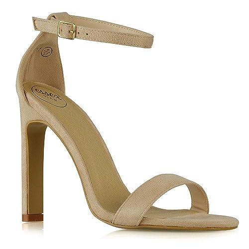 ESSEX GLAM Sandalo Donna Tacco Alto Barely There Fibbia Cinturino Caviglia   Amazon.it  Scarpe e borse 8e3e0f19879