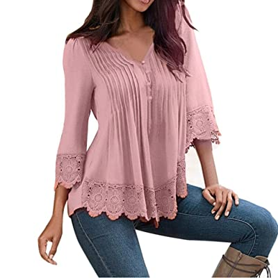 Anshinto Womens Spring Tops Blouses | Womens Long Sleeve Shirt | Girls Lace V Neck Tops | Woman Casual Blouse Loose T-Shirt