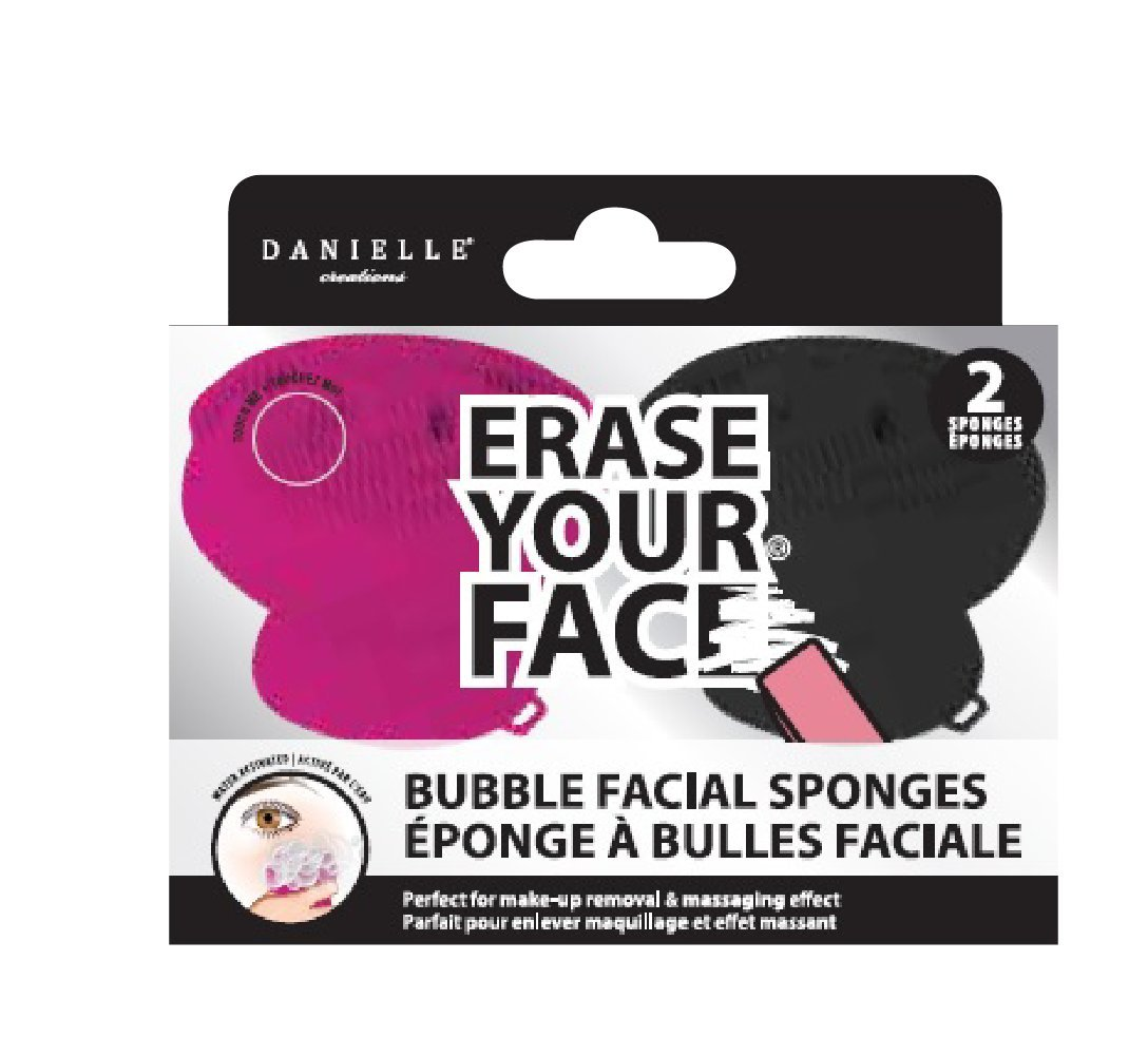 Danielle Creations Erase Your Face Bubble Sponge Make up Remover, Black and Pink, Pack of 2 D9753PKBK